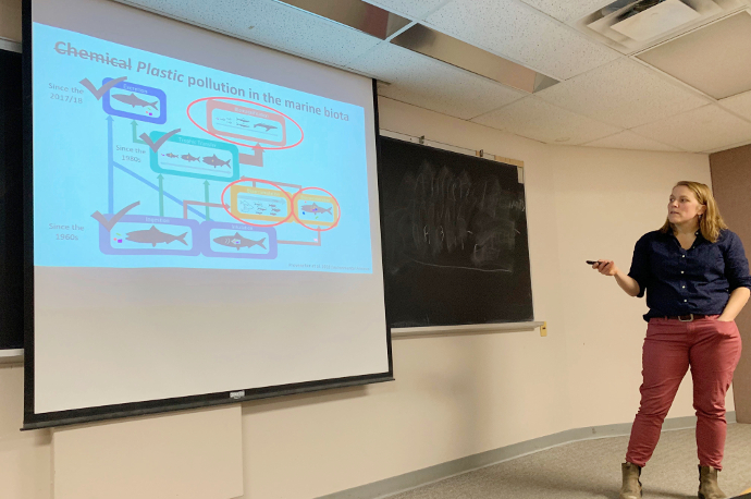 Dr. Jennifer Provencher giving a talk at Queen's University