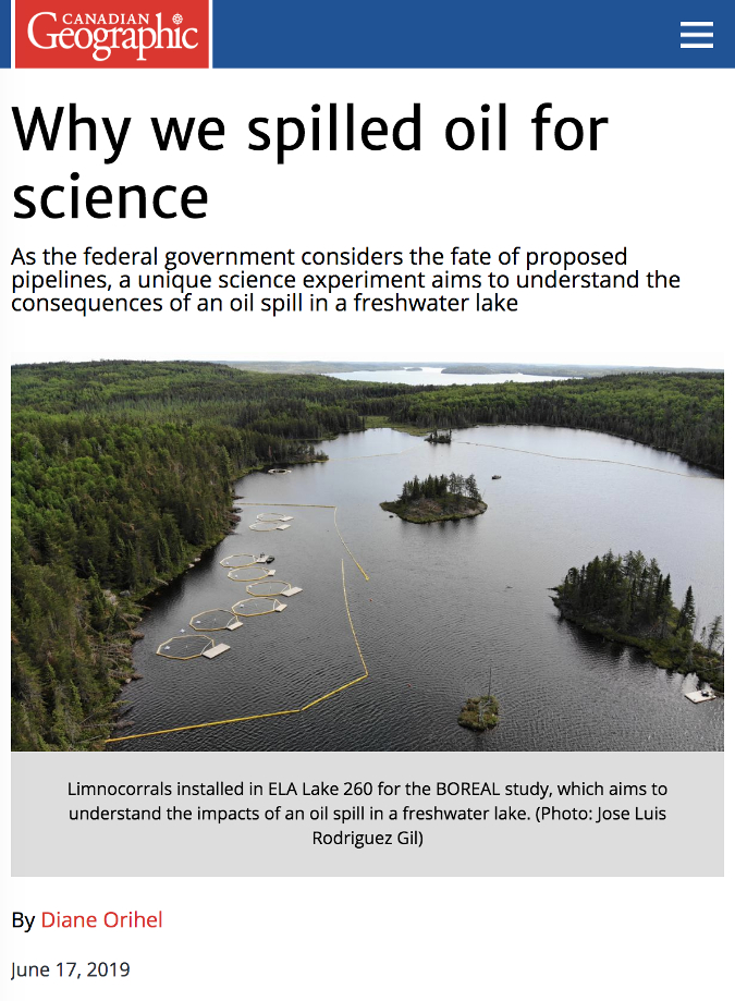 "screenshot from Canadian Geographic article ""Why we spilled oil for science"""